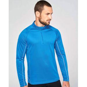 Sweat de running homme col 1/4 zippé manches raglan, 170 g/m²