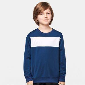 Sweat-shirt de sport enfant avec bande blanche, 210 g/m²