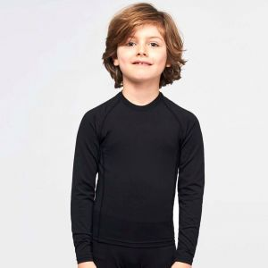 T-shirt de sport enfant double peau manches longues, 200 g/m²