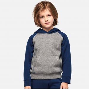 Sweat-shirt de sport enfant à capuche bicolore, 280 g/m²