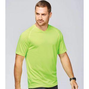 T-shirt homme col V respirant avec manches raglan, 140 g/m²