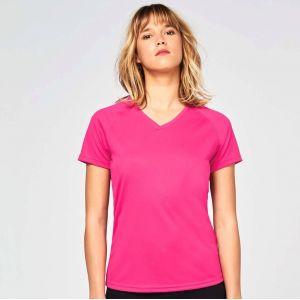 T-shirt femme col V respirant avec manches raglan, 140 g/m²