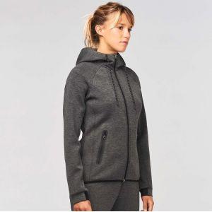 Veste de sport à capuche pour femme effet chiné, 310 g/m²