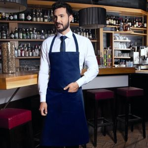 Tablier de cuisine avec bavette, ruban cou 60 cm, deux poches, 215 g/m²