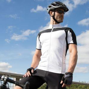 Veste de vélo homme zippée manches courtes réfléchissante, 170 g/m²