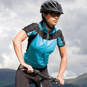 Veste de vélo femme zippée manches courtes réfléchissante, 170 g/m²