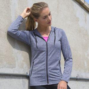 Veste sweat zippé femme à capuche léger et extensible pour faire du sport