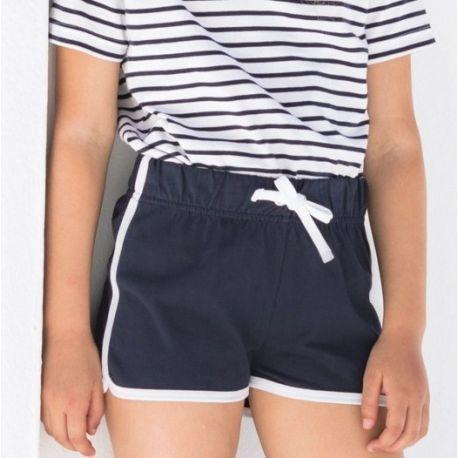 Short rétro enfant avec poches, taille élastique à cordon de serrage