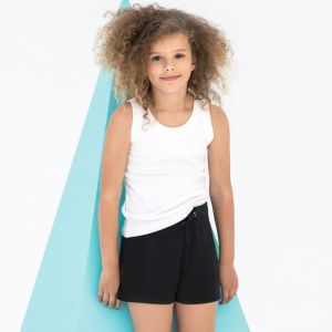 Short enfant slim et extensible, taille élastique à cordon de serrage