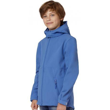 Veste soft-shell enfant à capuche détachable et protège-menton