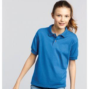 Polo enfant en tricot jersey DryBlend, boutons couleur bois, 214 g/m²
