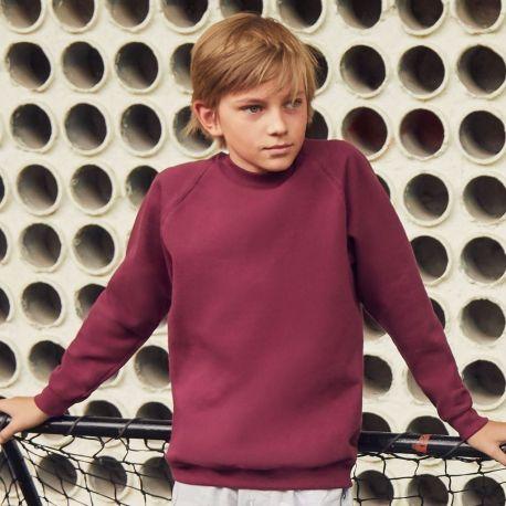 Sweat-shirt enfant manches raglan en polycoton, 280 g/m²