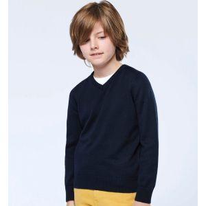 Pull col V enfant en coton et acrylique, 290 g/m²
