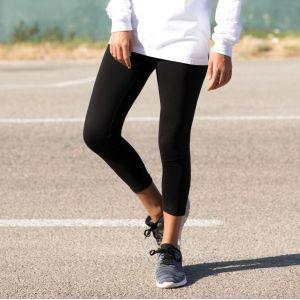 Legging noir 3/4 pour femme, taille élastique, 190 g/m²