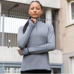 Haut manches longues pour femme, col 1/4 zip réfléchissant