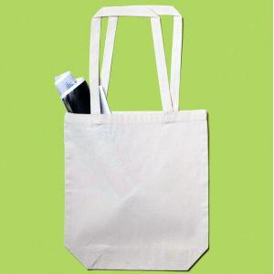 Tote bag avec soufflet en coton canvas, anses longues, 200 g/m²