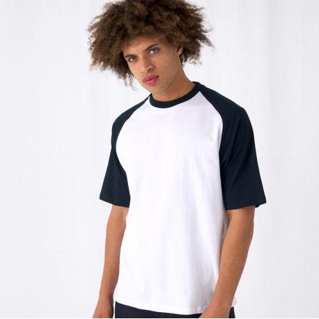 T-shirt baseball coton bicolore, manches courtes, 185 g/m²