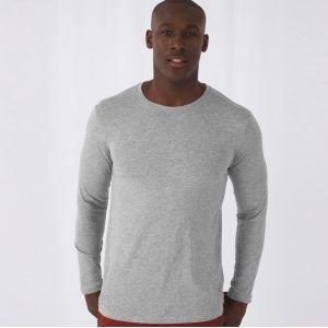 T-shirt homme manches longues en coton bio sans étiquette, 140 g/m²