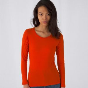 T-shirt femme manches longues en coton bio sans étiquette, 140 g/m²