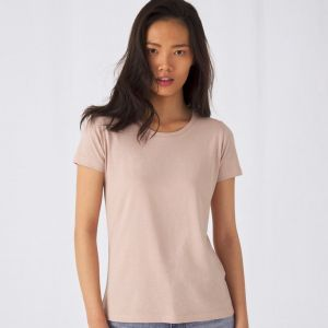 T-shirt femme col rond sans étiquette, coton bio ringspun, 140 g/m²