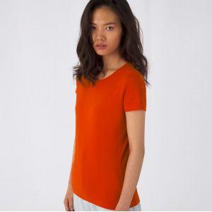 T-shirt femme épais col rond sans étiquette en coton bio, 175 g/m²