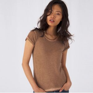T-shirt femme effet denim teinté à froid en coton ringspun, 145 g/m²