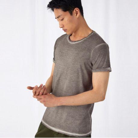 T-shirt homme effet denim teinté à froid en coton ringspun, 145 g/m²