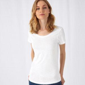 T-shirt femme slub sans étiquette, coton bio ringspun, 120 g/m²
