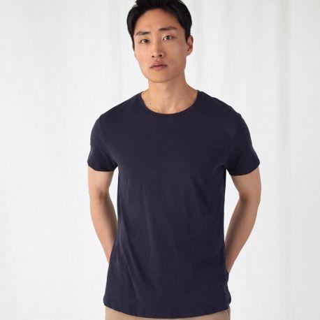 T-shirt homme slub sans étiquette, coton bio ringspun, 120 g/m²