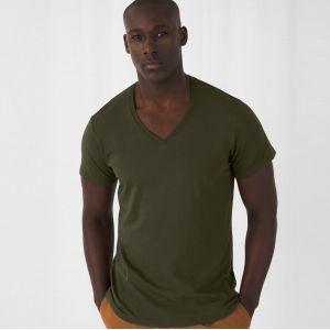 T-shirt homme col V sans étiquette, coton bio ringspun, 140 g/m²