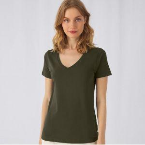 T-shirt femme col V sans étiquette, coton bio ringspun, 140 g/m²