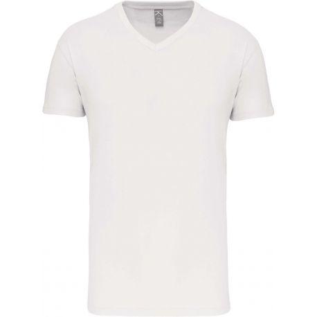 T-shirt homme col V en coton bio coupe droite, 140 g/m²
