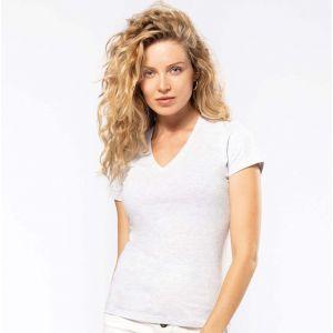 T-shirt femme col V en coton bio coupe ajustée, 140 g/m²