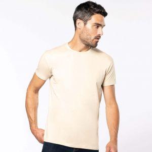 T-shirt homme col rond en coton bio coupe droite, 140 g/m²