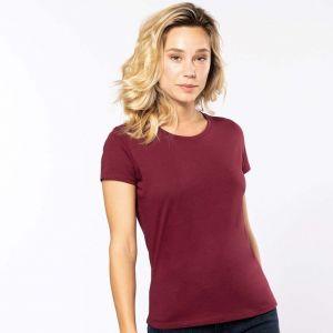 T-shirt femme col rond en coton bio coupe ajustée, 140 g/m²