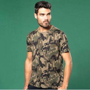 T-shirt homme camouflage manches courtes sans étiquette, 140 g/m²