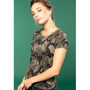 T-shirt femme camouflage manches courtes sans étiquette, 140 g/m²