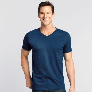 T-shirt col V homme manches courtes en coton ringspun softstyle, 150 g/m²
