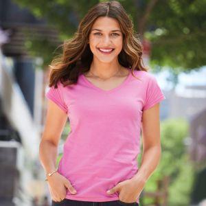 T-shirt col V femme manches courtes en coton ringspun softstyle, 150 g/m²