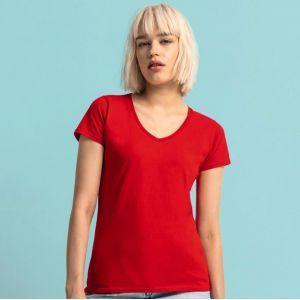 T-shirt femme iconic col V, coupe moderne en coton doux, 150 g/m²