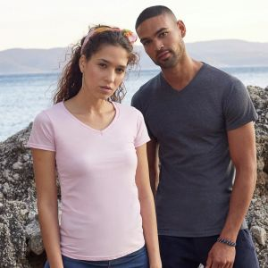 T-shirt femme col V valueweight en coton, manches courtes, 165 g/m²