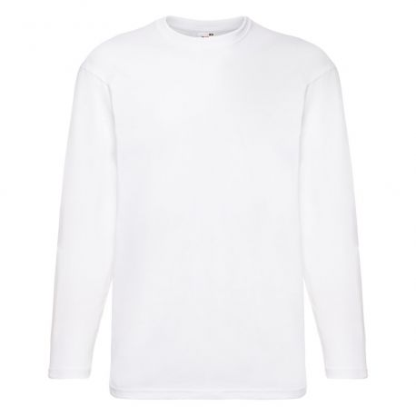 T-shirt homme manches longues col rond valueweight en coton, 165 g/m²