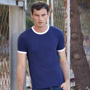 T-shirt ringer 2 couleurs en coton fil belcoro, manches courtes, 165 g/m²