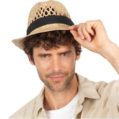 Chapeau Panama en fibres végétales tressées et aérées