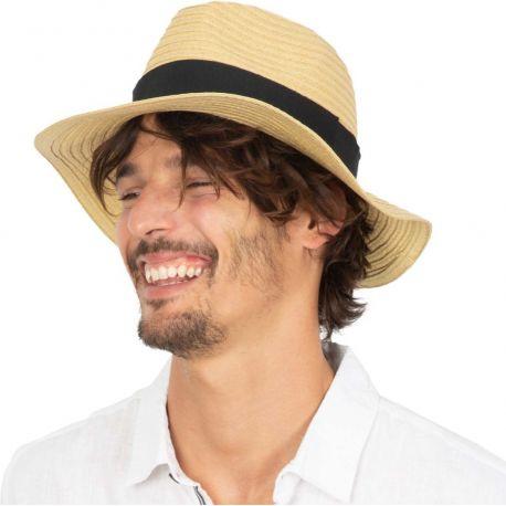 Chapeau de paille classique style Borsalino en fibres végétales
