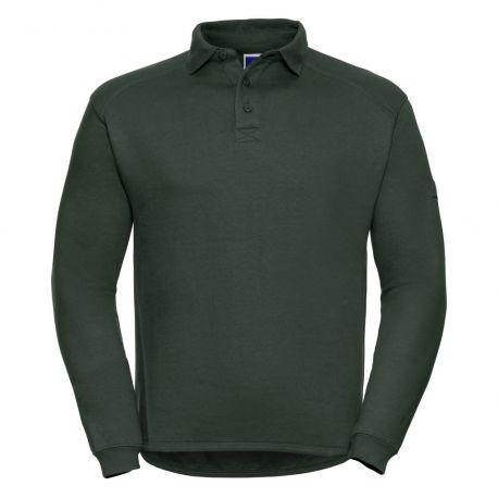 Sweat-shirt col polo  anti-tache, lavable à 60°C, 300 g/m²