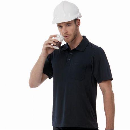 Polo de travail respirant avec poche, lavable à 60°C, 200 g/m²