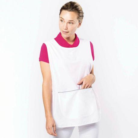 Tunique femme, grande poche à 2 compartiments, lavable à 60°C, 155 g/m²
