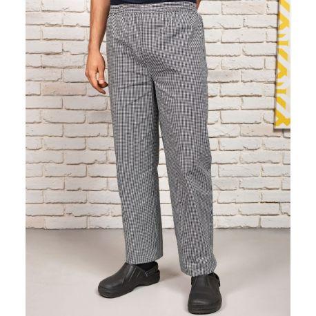 Pantalon de cuisine à carreaux, taille élastique, 195 g/m²