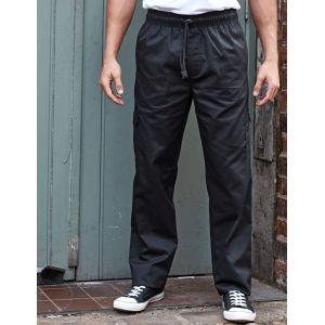 Pantalon de chef de cuisine poches cargo, taille élastique, 195 g/m²